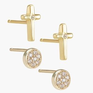 LUCKY BRAND DELICATE CROSS EARRING SET